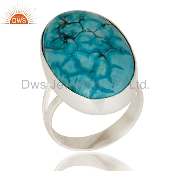 Natural Turquoise Gemstone Bezel-Set Ring Made In 925 Sterling Silver