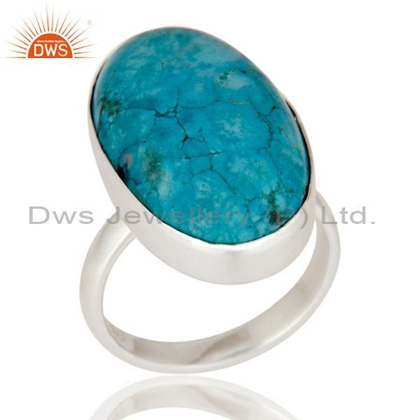 Handmade 925 Sterling Silver Genuine Turquoise Cabochon Gemstone Ring Size 8 US