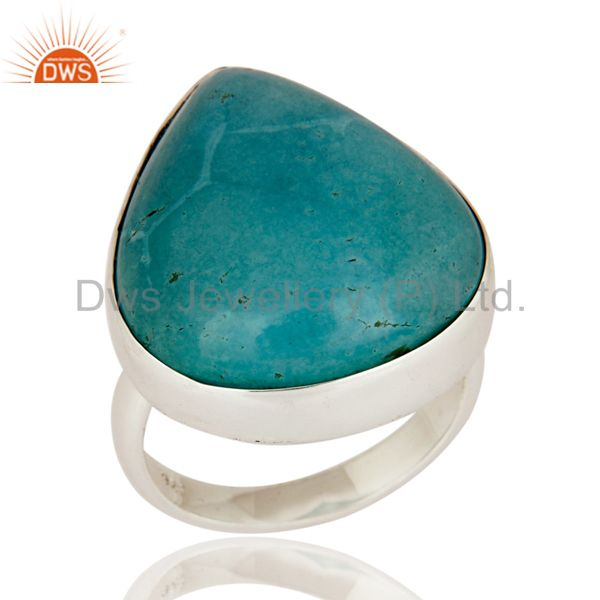 Indian Artisan Made Solid 925 Sterling Silver Turquoise Gemstone Ring