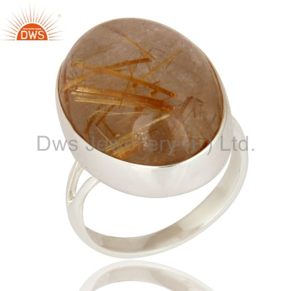 High Quality Gemstone Rutilated Quartz 925 Sterling Silver Artisan Crafted Ring