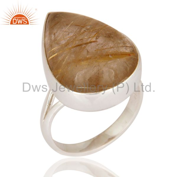 Natural Rutilated Quartz Cabochon Gemstone Bezel Set Ring In 925 Sterling Silver