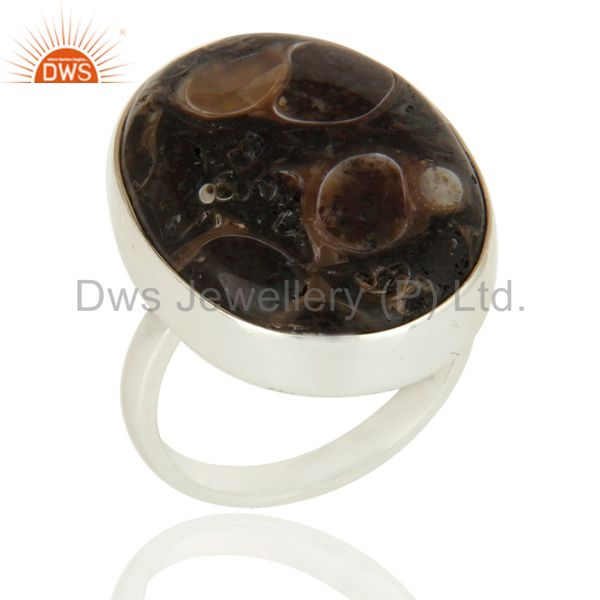 Handmade Genuine Sterling Silver Natural Turritella Agate Statement Ring