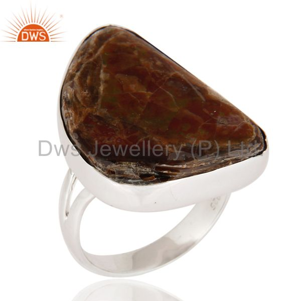 Natural Ammolite Gemstone Ring Handmade 925 Sterling Silver Jewelry Size 9