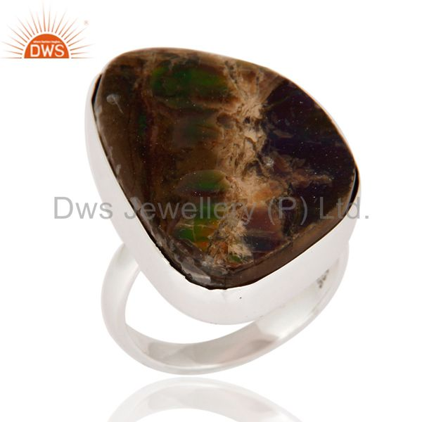 Handmade Sterling Silver Natural Ammolite Fossil Gemstone Bezel-set Ring