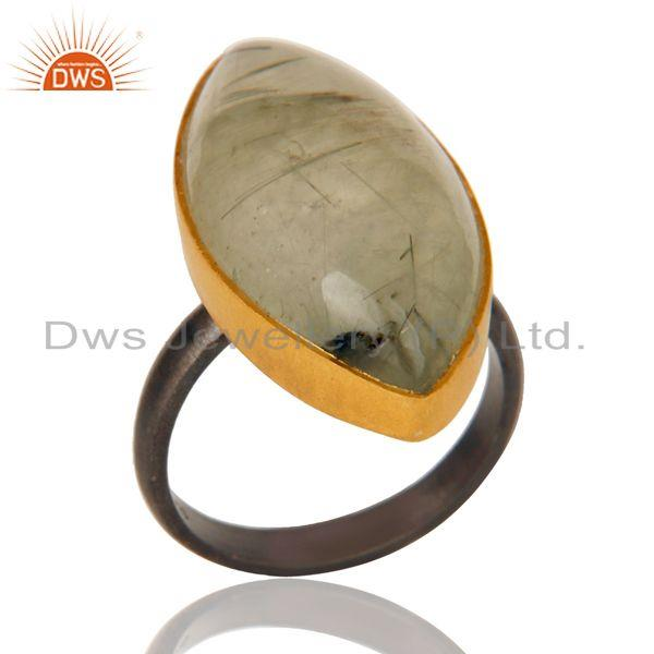 18K Gold Plated & Black Oxidized Sterling Silver Natural Prehnite Unique Ring