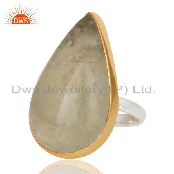 18K Gold Plated Solid 925 Sterling Silver Pear Shape Prehnite Gemstone Ring