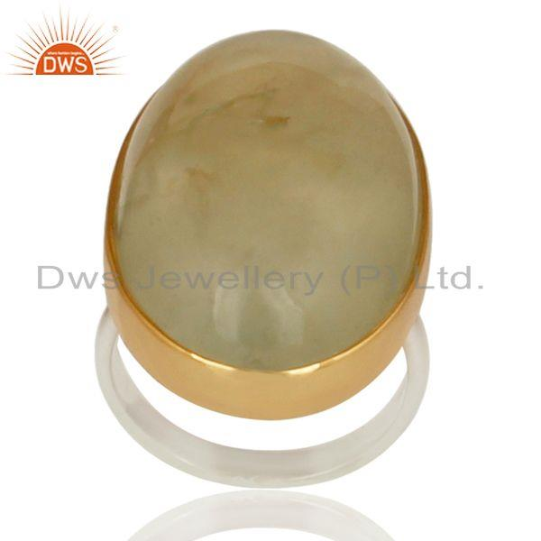 18K Gold Plated & Solid 925 Sterling Silver Round Natural Prehnite Unique Ring
