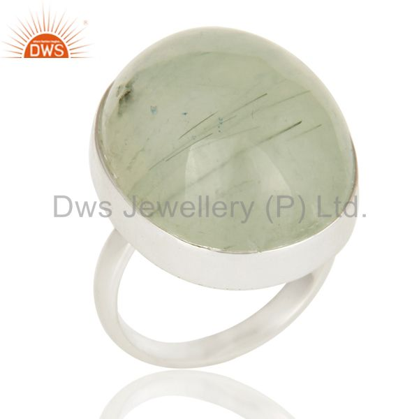 Handmade 925 Sterling Silver Natural Prehnite Bezel Set Gemstone Statement Ring