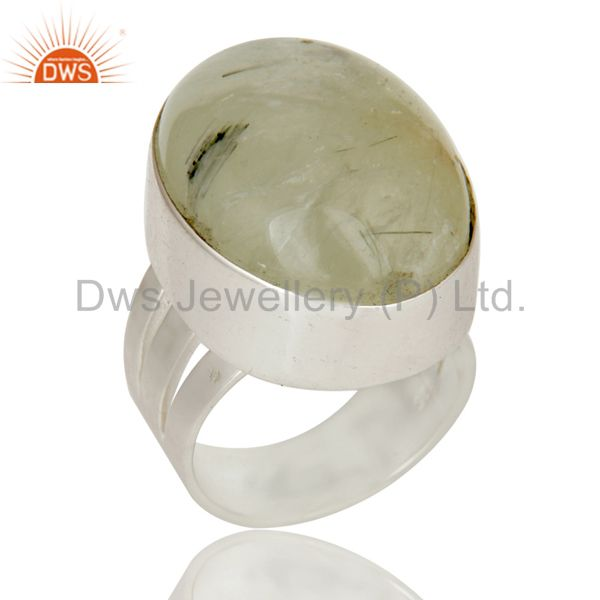 925 Sterling Silver Prehnite Gemstone Statement Ring
