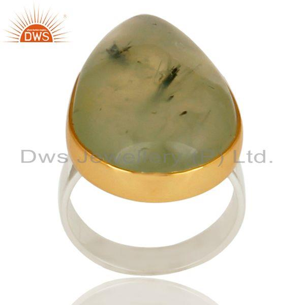 18K Gold Plated & Solid Sterling Silver Handmade Design Natural Prehnite Ring