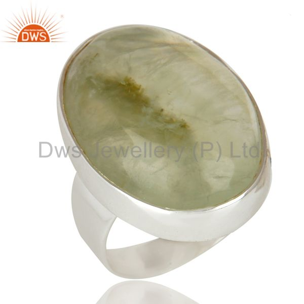 Handmade Sterling Silver Natural Prehnite Gemstone Bezel Set Statement Ring