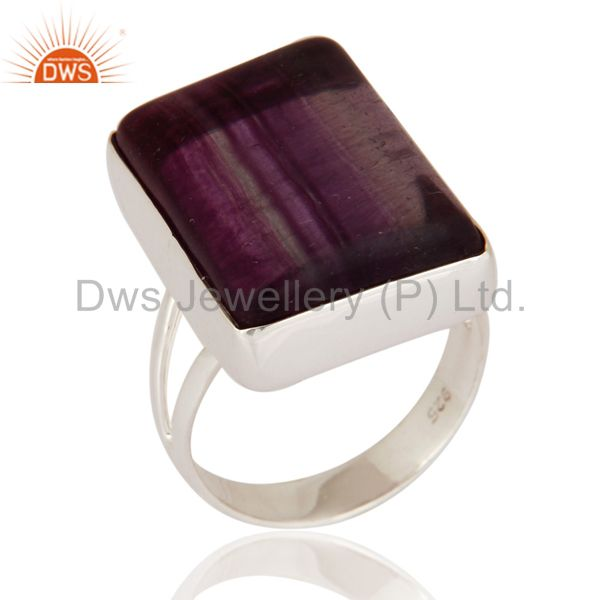 Natural Rainbow Fluorite Gemstone Nickel Free 925 Sterling Silver Handmade Ring