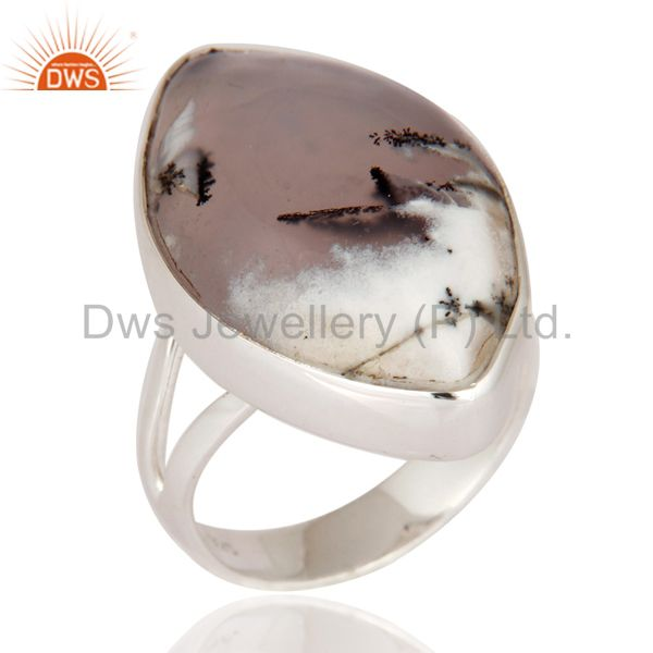 Natural Dendritic Opal 925 Sterling Silver Bezel Set Cabochon Gemstone Ring