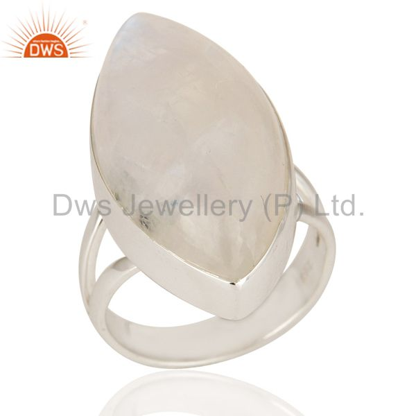 Natural Rainbow Moonstone Bezel Set Ring Made In Sterling Silver