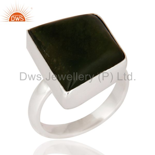 Natural Semi-precious Stone Vasonite 925 Sterling Silver Statement Ring