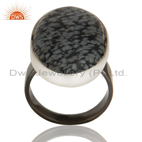 Black Oxidized 925 Sterling Silver Snow Flake Obsidian Gemstone Unique Ring