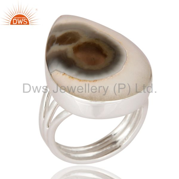Handmade Solid 925 Sterling Silver Jewelry Ring With Natural Solar Quartz