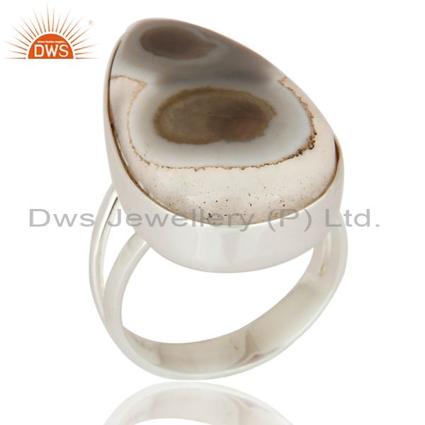 White Solar Quartz Stone Bezel Set Gemstone 925 Sterling Silver High Polish Ring