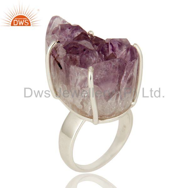 Handmade Solid Sterling Silver Natural Amethyst Geode Druzy Prong Set Ring