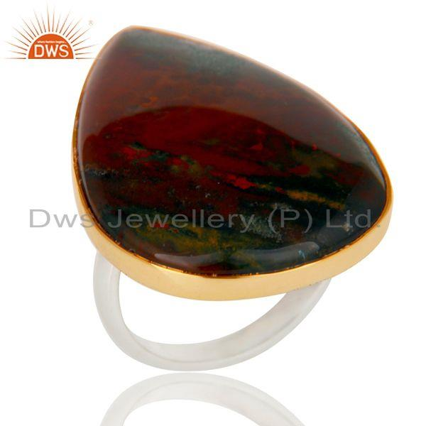 Handmade Gold 925 Sterling Silver Plated Natural Blood Stone Unique Ring