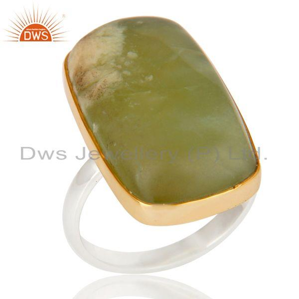 Handmade 18K Gold 925 Sterling Silver Plated Lizardite Gemstone Artisan Ring