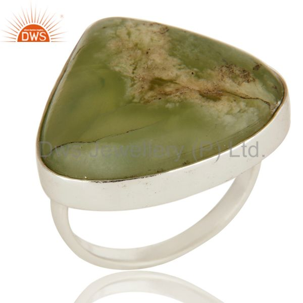 Natural Green Lizardite Gemstone Bezel Set Solid Sterling Silver Cocktail Ring