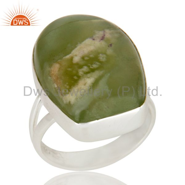 Handmade Sterling Silver Natural Lizardite Gemstone Bezel Set Statement Ring