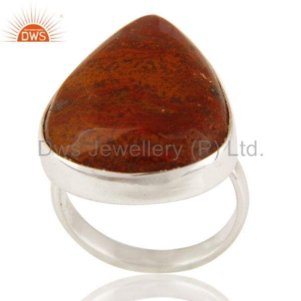Genuine Solid Sterling Silver Ocean Jasper Gemstone Ring