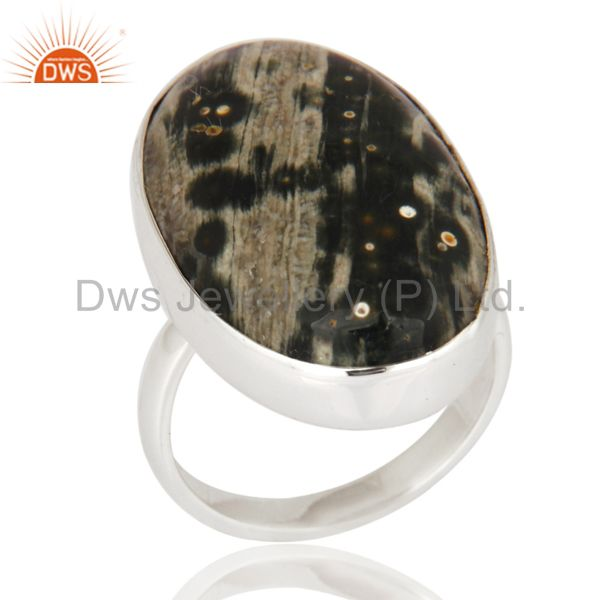 Natural Ocean Jasper 925 Sterling Silver Ring Bezel Set Gemstone Statement Ring