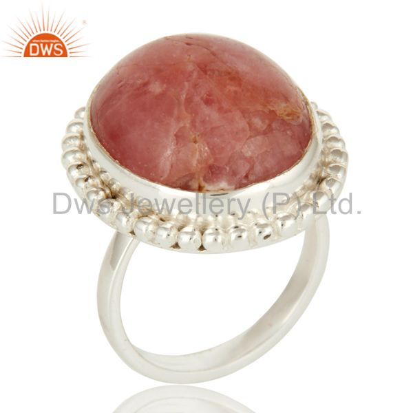 Genuine Rhodochrosite Gemstone Cocktail Ring In Sterling Silver