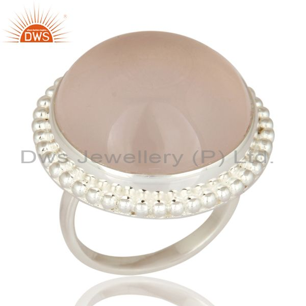 Natural Rose Quartz Solid Sterling Silver Bezel Set Artisan Handmade Ring
