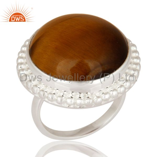 Solid 925 Sterling Silver Natural Tigers Eye Gemstone Beautiful Ring