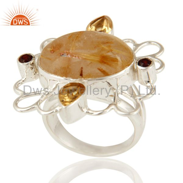Handmade Golden Rutilated Quartz & Citrine Sterling Silver Ring