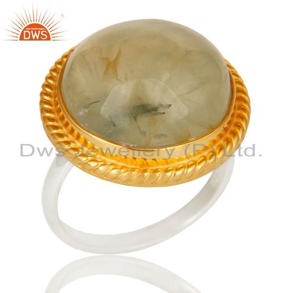 22K Gold Plated Solid 925 Sterling Silver Round Design Prehnite Unique Ring