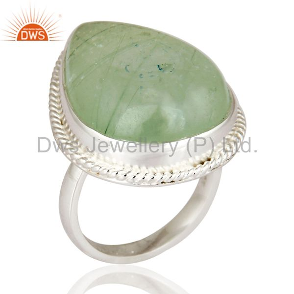 Handmade 925 Sterling Silver Designer Ring With Natural Prehnite Gemstone