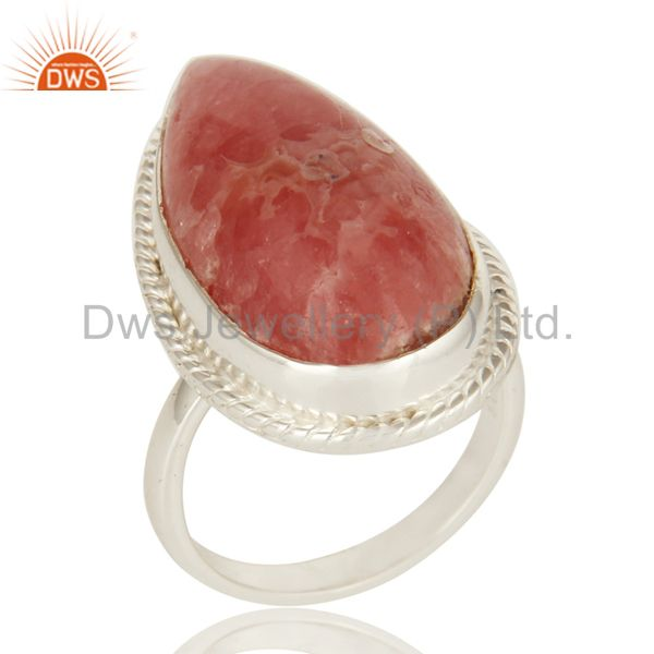 Natural Rhodochrosite Gemstone Statement Ring In Sterling Silver