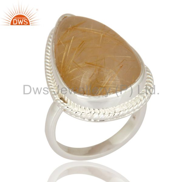 Genuine Golden Rutilated Quartz Gemstone Ring Handcrafted In 925 Sterling Silver
