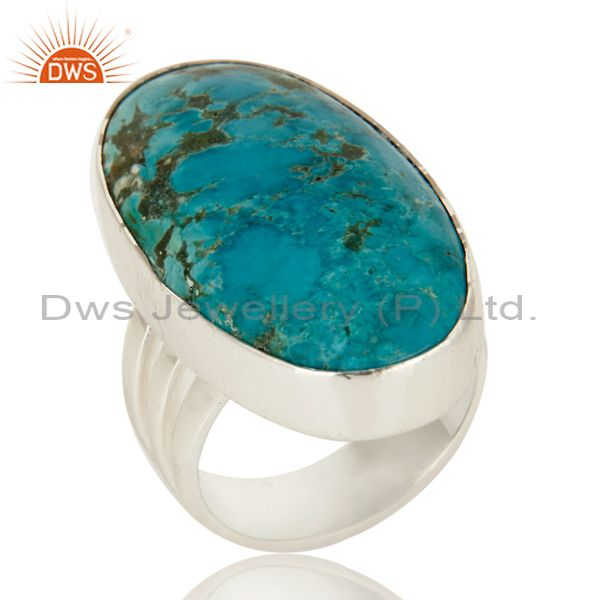 925 Sterling Silver Natural Turquoise Gemstone Oval Statement Ring