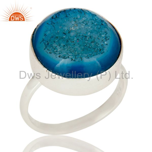 Handmade Round Blue Drusy Agate Solid Sterling Silver Coctail Ring