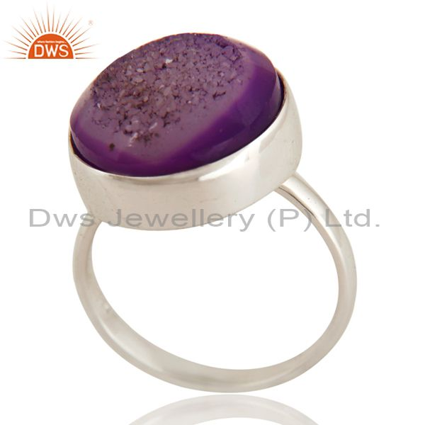 Handmade Natural Purple Druzy Statement Ring Jewellery With 925 Sterling Silver