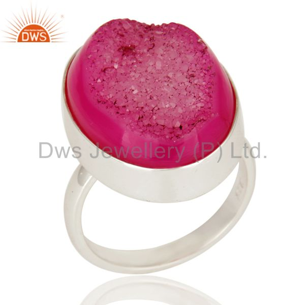 Pink Drusy Agate Solid 925 Sterling Silver Cocktail Statement Ring