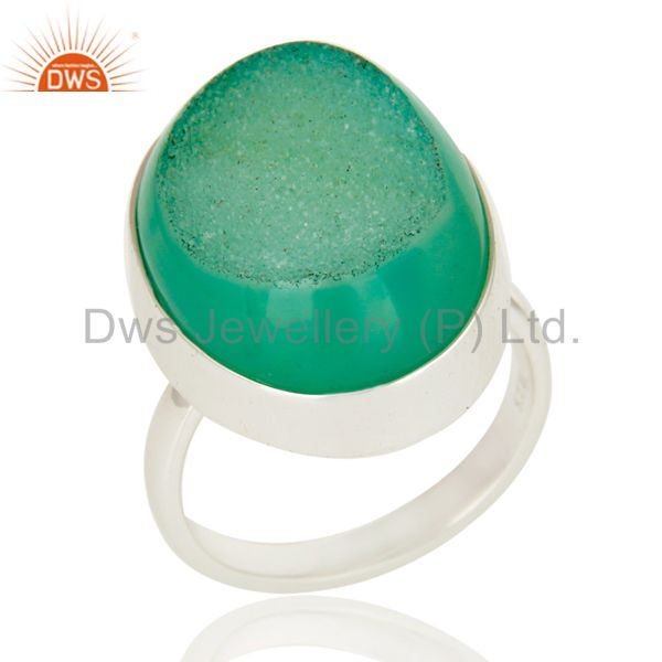 Oval Shape Sea Green Drusy Agate Genuine Sterling Silver Bezel-Set Ring