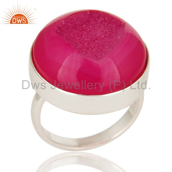 Round Pink Druzy 925 Sterling Silver Bezel-Set Cocktail Ring