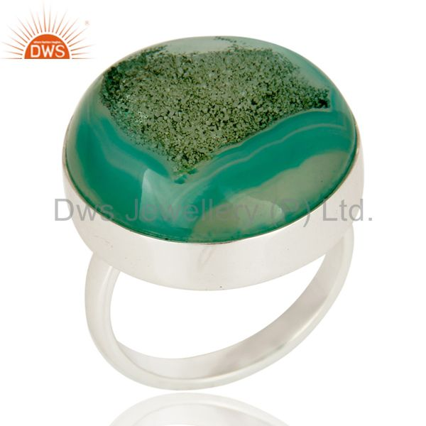 Green Druzy Bezel-Set Ring Handcrafted Sterling Silver Jewelry