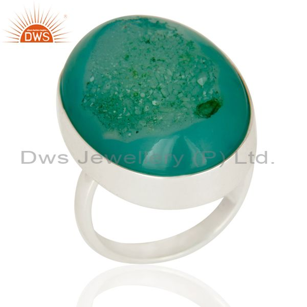 Green Druzy Agate Sterling Silver Bezel-Set Statement Ring