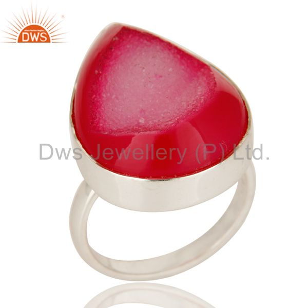 925 Solid Sterling Silver Natural Pink Druzy Agate Bezel Set Cocktail Ring