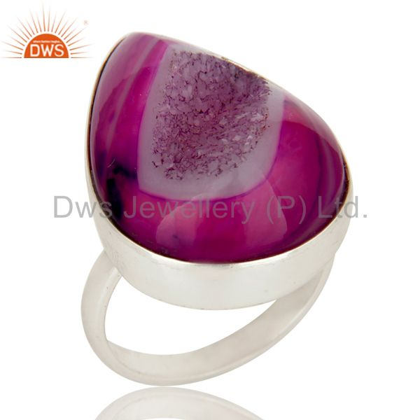 Handmade 925 Sterling Silver Pink Druzy Agate Bezel Set Cocktail Ring