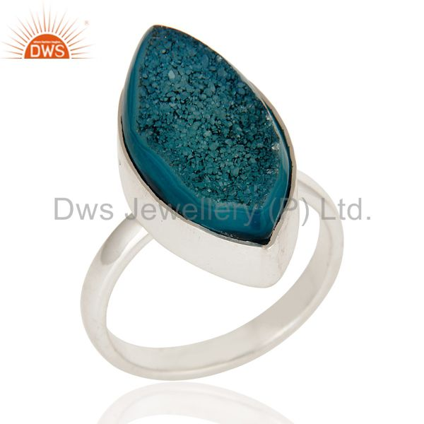 Handmade Blue Druzy Agate Statement Ring Made In Solid Sterling Silver