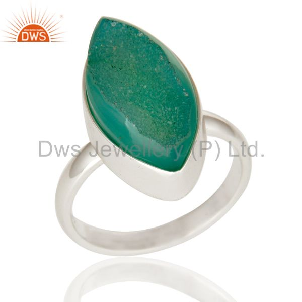 Natural Titanium Green Marquise Drusy Quartz 925 Sterling Silver Ring