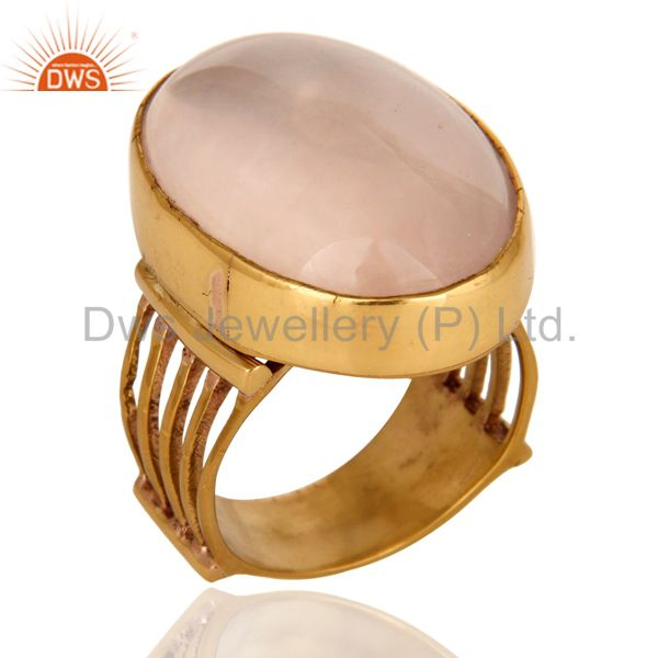 Natural Rose Quartz Gemstone Designer Ring In Yellow Gold Over Brass